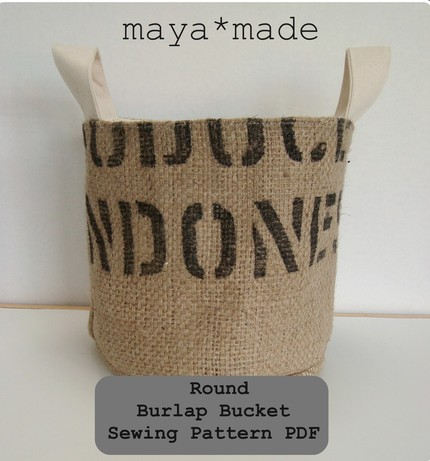 DIY Burlap Bucket - PDF instructions from Designsmayamade on Etsy