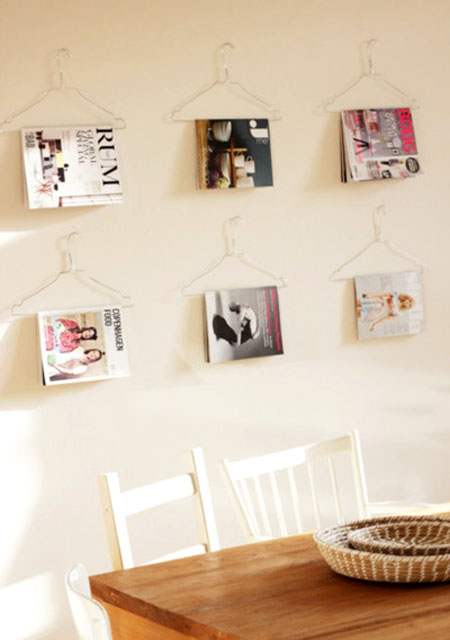 Magazines on Wire Hangers - DIY wall art and storage