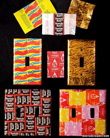 recycled paper decoupage using candy wrappers