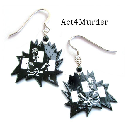 your logo on jewelry - these are Act4Murder logo earrings