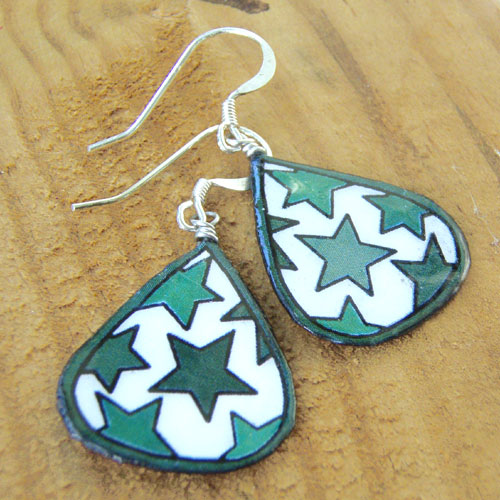 green and white lacquered paper stars earrings from Paper Jewels