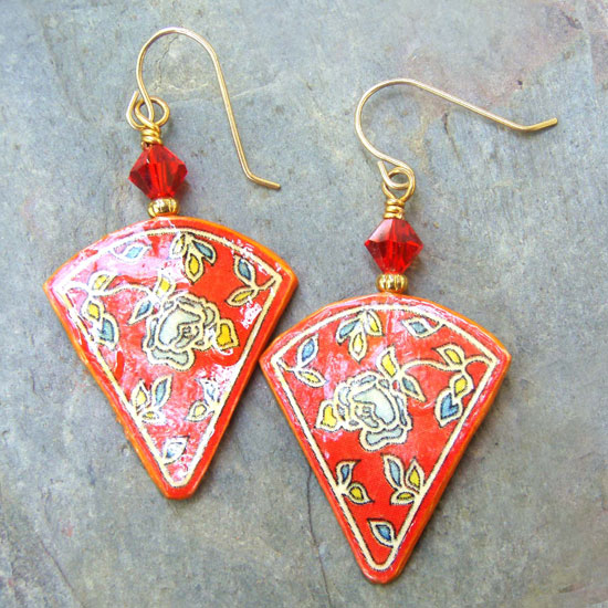red floral paper earrings at Paper Jewels