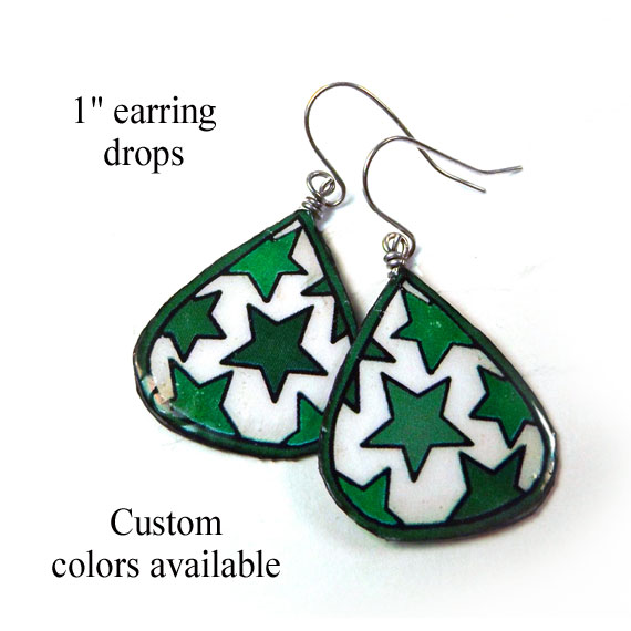 paper earrings with green stars or custom colors... a great first anniversary gift