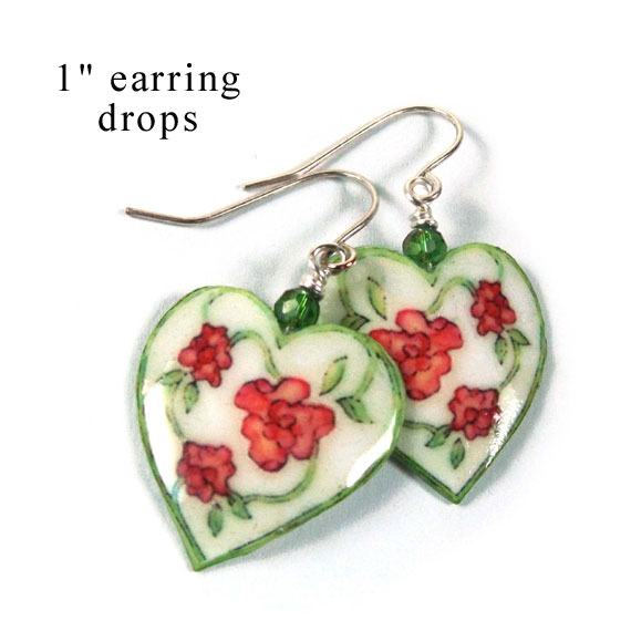 white heart paper earrings with flowers